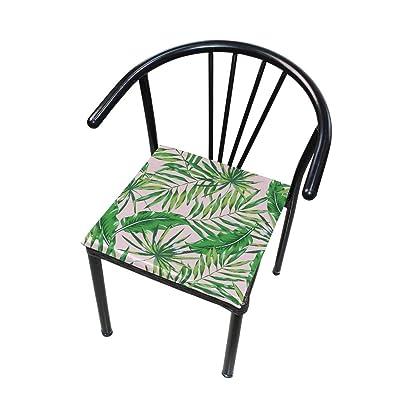 FICOO Home Patio Chair Cushion Tropical Banana Leaf Square Cushion Non-Slip Memory Foam Outdoor Seat Cushion, 16x16 Inch: Home & Kitchen