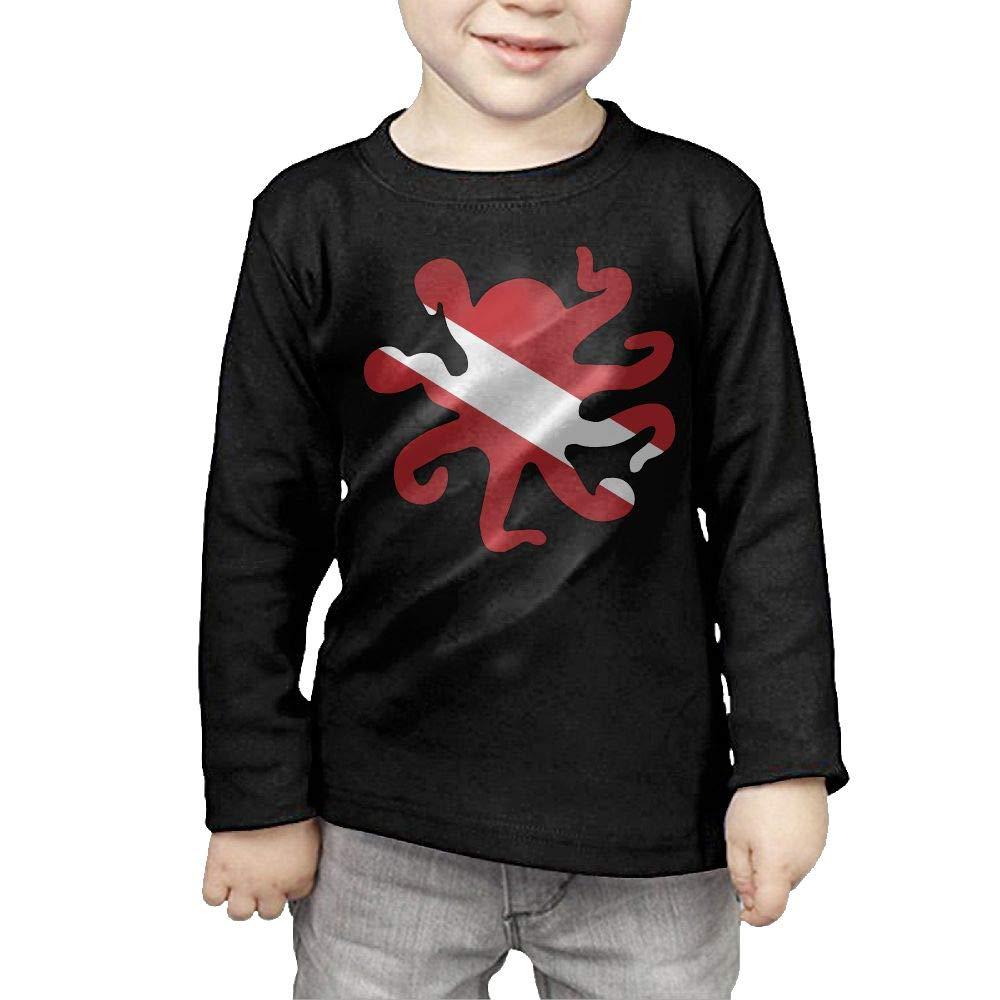 CERTONGCXTS Baby Girls Little Boys Dive Flag Octopus Shaped ComfortSoft Long Sleeve Shirt