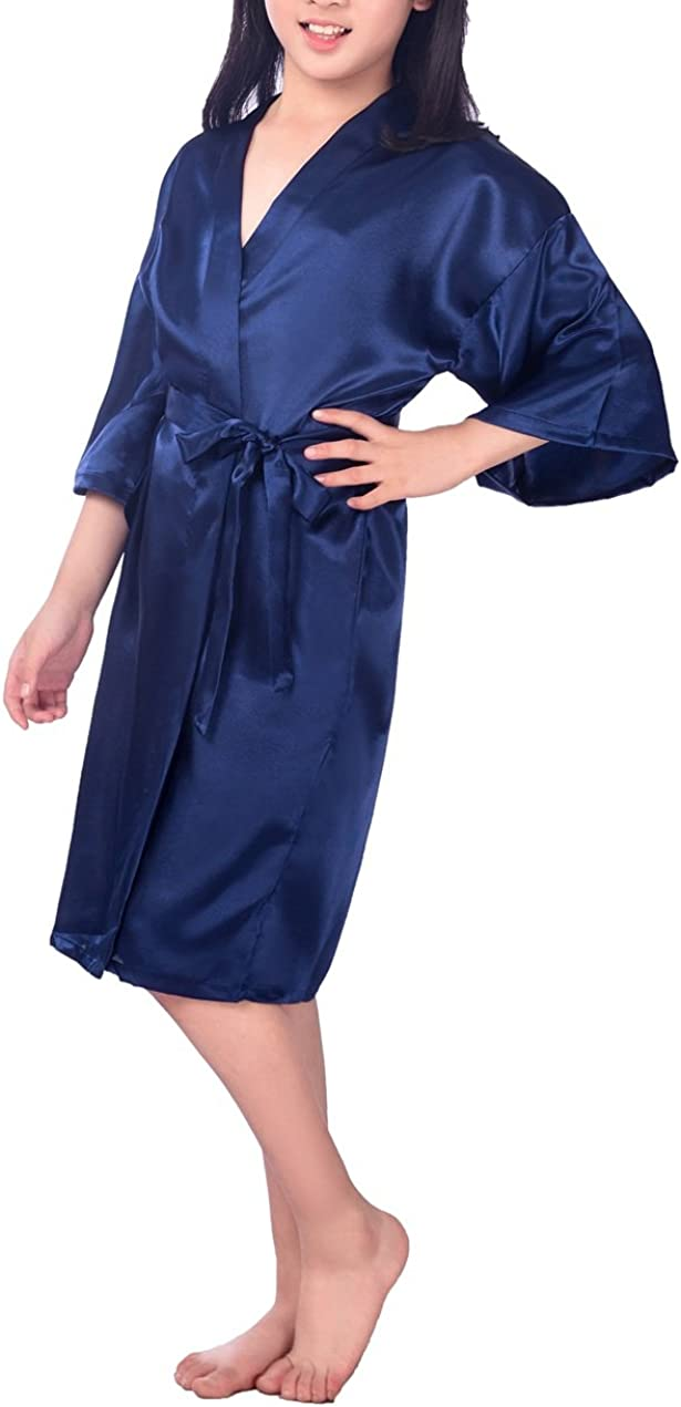 SexyTown Flower Girl Robes Satin Nightgown Wedding Party Getting Ready Robe with Gold Glitter 6 Dark Blue,6 Height 35.4-39.4