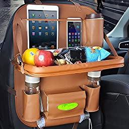 Car Seat Back Organizer PU Leather Quality Seat Protector Car Dining Table Foldable Car Tablet Holder Bottles Holder Multifunctional Car Backseat Organizer& Kick Mat & Tray (pack of 1, brown)