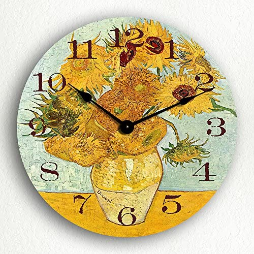 Classical Creations Vase with 12 Sunflowers by Van Gogh 12 Silent Wall Clock
