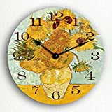 Cheap Vase with 12 Sunflowers by van Gogh 12″ Silent Wall Clock