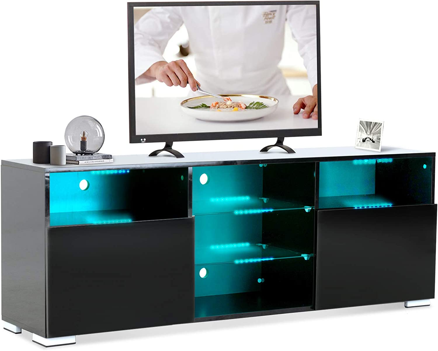 Mecor Black TV Stand w/Lights Modern LED TV Stand w/Remote Control High Gloss Media Console for 60 Inch TV Entertainment Center with 3 Layers, 2 Doors and Open Shelf