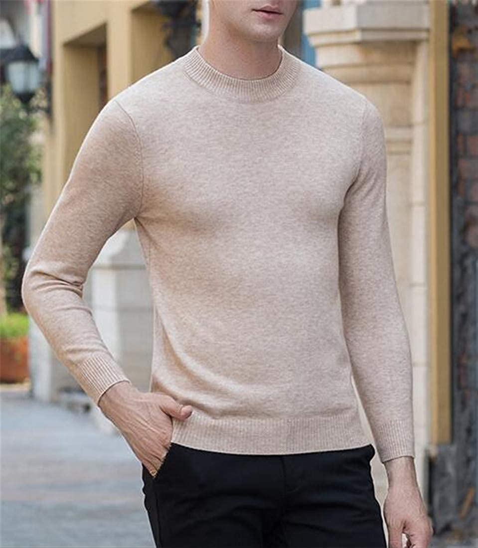 Etecredpow Men Knitted Classic Pullover Crewneck Wool Pure Color Jumper Sweater