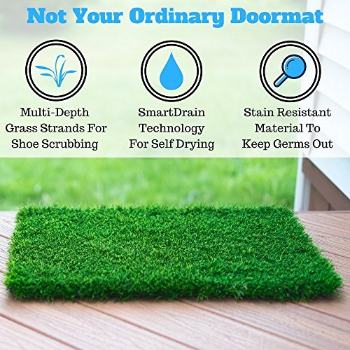 Artificial Grass Doormat With SmartDrain Technology - Welcome Door Mat For Entrance Way & Porch- Outdoors and Indoors (24X18 - Glasses That Cute Real Fake Look