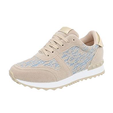 Ital-Design Sneakers Low Damen-Schuhe Schnürsenkel Freizeitschuhe Weiß, Gr 39, P-20-