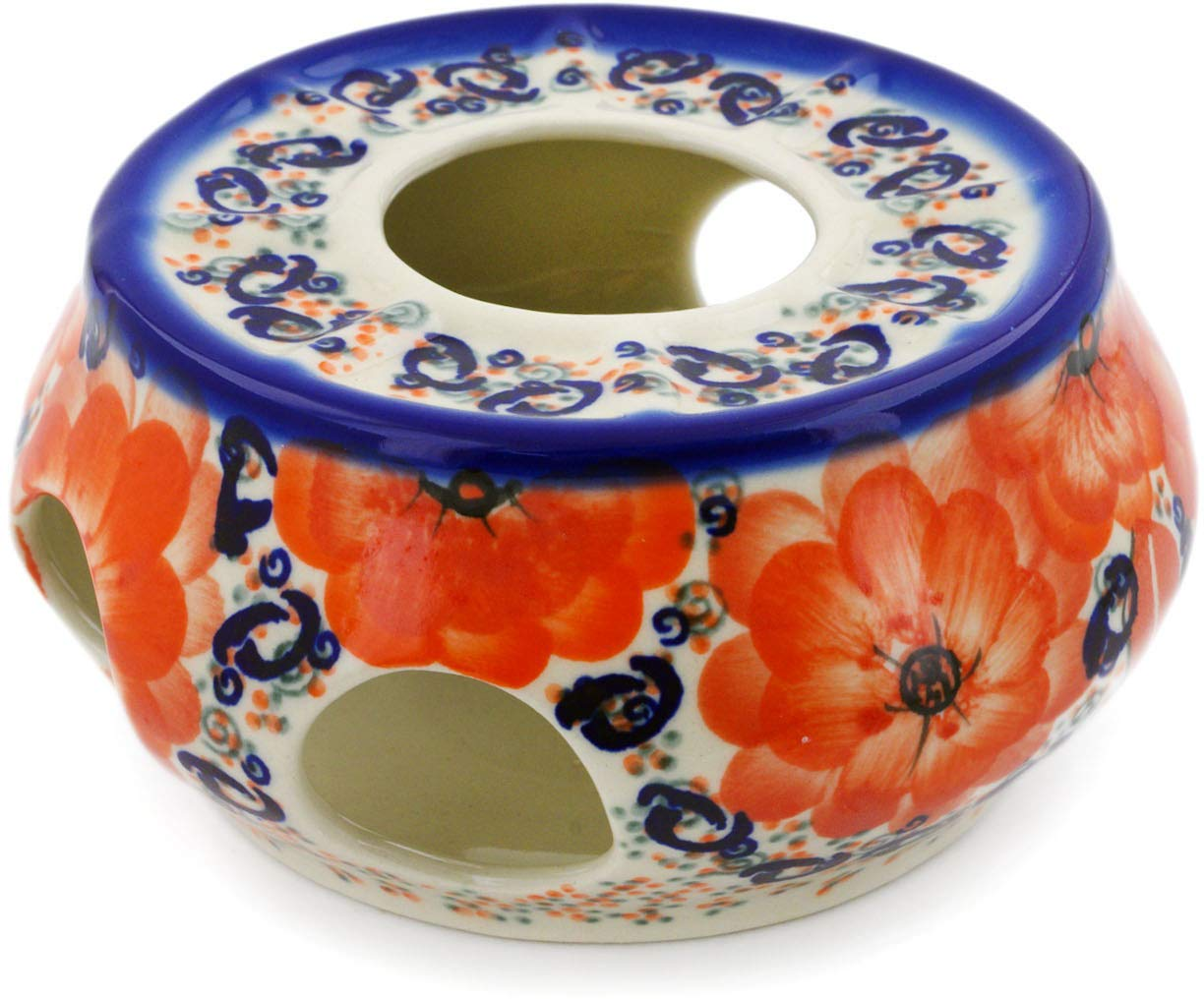 Polish Pottery 6-inch Heater (Poppy Passion Theme) Signature UNIKAT + Certificate of Authenticity