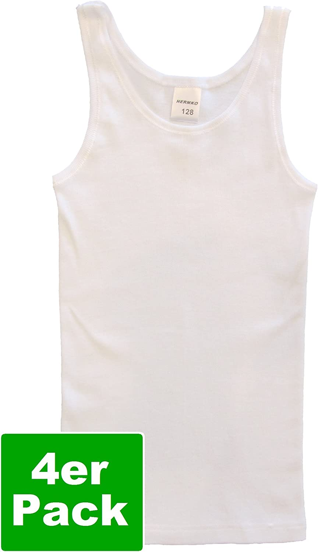 bio-Cotton HERMKO 2000 4-Pack Girls Tank top Vest in 100/% Organic Cotton