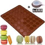 LangTek Tapis de Cuisson Macarons, Plaque à Macarons Meringues Moule en Silicone 48 Coques Macarons 1 Poche à Douille 4 Douilles de Formes Differentes