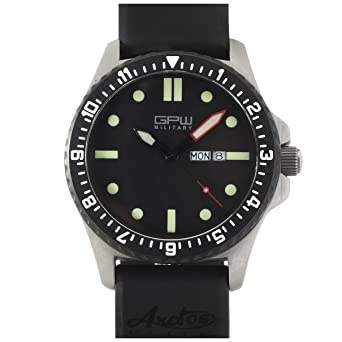 f0508e26f9e Image Unavailable. Image not available for. Color  German Military Titanium  Watch. GPW Day Date. Sapphire Crystal. Black Rubber Strap.