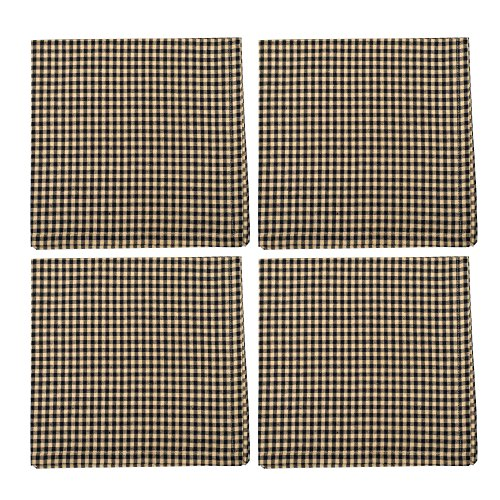Granny's Black and Cream Gingham 18 x 18 All Cotton Napkin Pack of 4