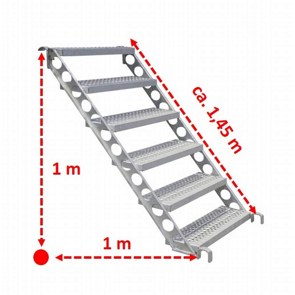45 Grad 80 cm breit Bautreppe 1 m H/öhe Baustellentreppe Au/ßentreppe f