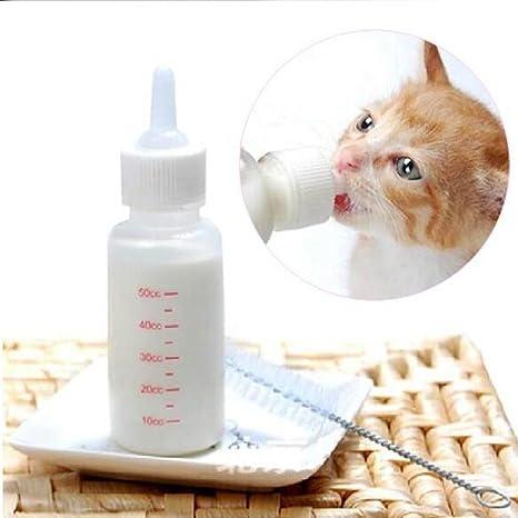 50 ML Botella de Mascotas con 3 Pezones y 1 Cepillo de Limpieza Biberón de Agua Portátil para Perros Gatos