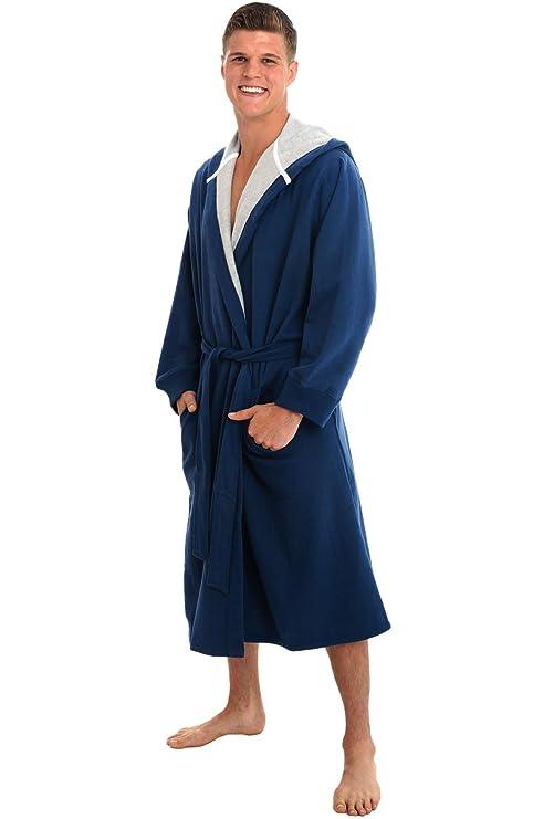 Alexander Del Rossa Mens Cotton Robe, Sweatshirt Style Hooded ...