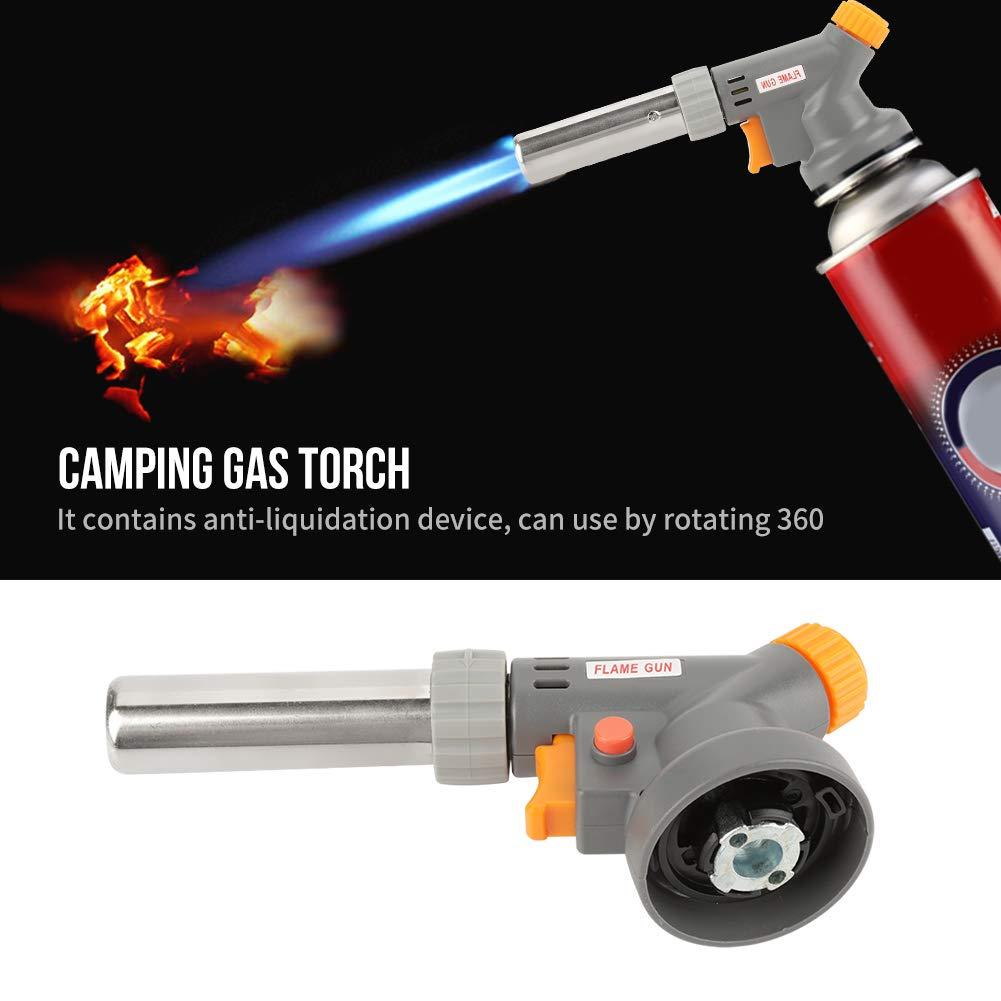 Bruciatore a Spruzzo che Brucia Fino a 1300 ℃ Torcia a Gas Pistola di Saldatura ad Accensione Pressione Regolabile Portatile per Barbecue allAperto Torcia Portatile a Fiamma