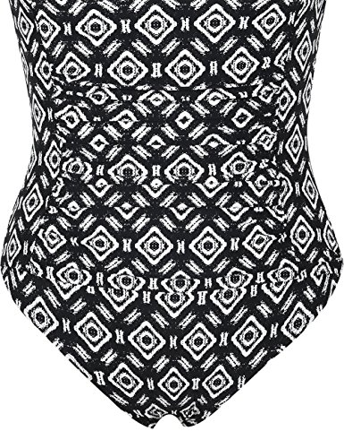 bf728550be57d Firpearl Women's Retro One Piece Bathing Suit Ruched Tummy Control Swimsuit  Argyle Pattern US12