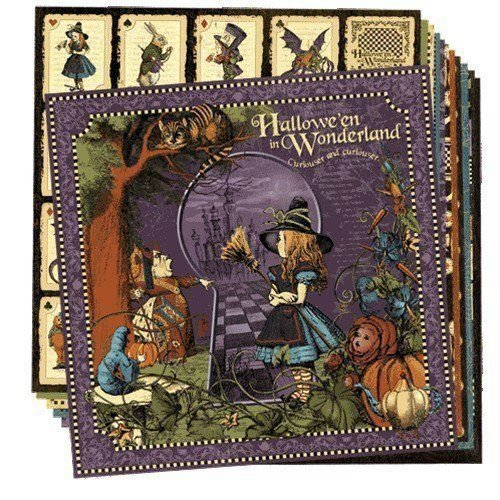 Graphic 45 Halloween in Wonderland Set of 12 different sheets of 12 by 12-inch Paper ()