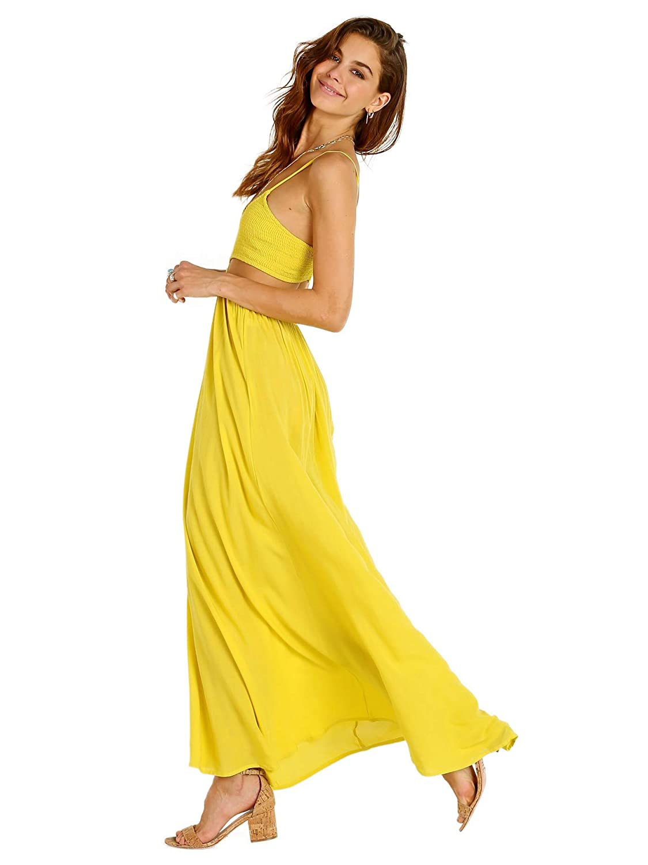 6acb6306a7 Indah Innocence Cutaway Maxi Dress Citrus at Amazon Women s Clothing store