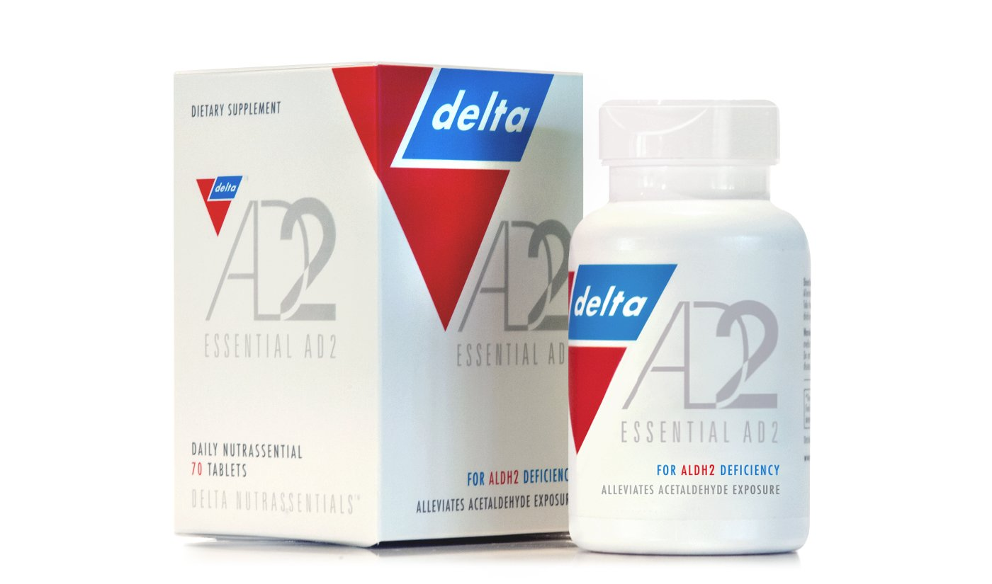 Essential AD2 - Patented & Clinically Proven for ALDH2 Deficiency and Alcohol Flush Reaction ('Asian Flush' Or 'Asian Glow') by Delta (Image #1)