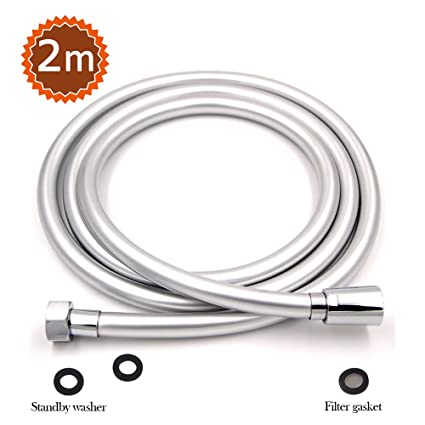 STARBATH PVC Smooth Shower Hose 2M with Anti-Twist Brass Connections -  Universal Replacement, Flexible and Leak Proof Silver Shower Hoses
