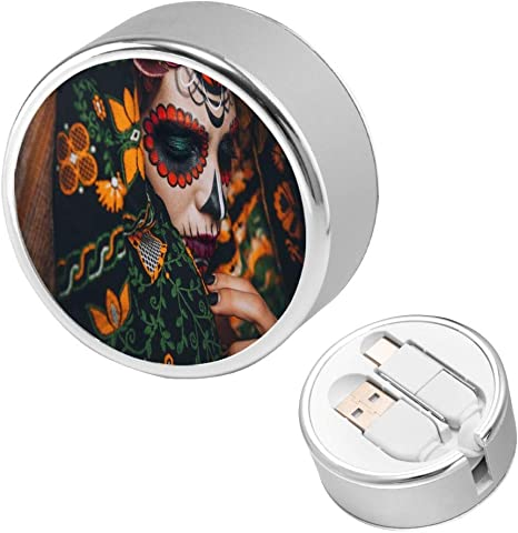 Retractable Multi Cable Black and White Sugar Skull with Flowers 2 in 1 Retractable Powerline Type C Data Cable Durable Charging Cable for Android Smartphones and More 4ft