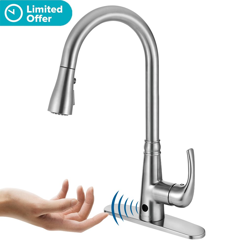 Boharers touchless kitchen sink faucet with react touch free technology single handle brushed nickel amazon co uk diy tools