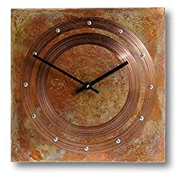 Patinated Copper Rustic Square Large Wall Clock 20-inch Silent Non Ticking for Home/Office / Kitchen/Bedroom / Living Room