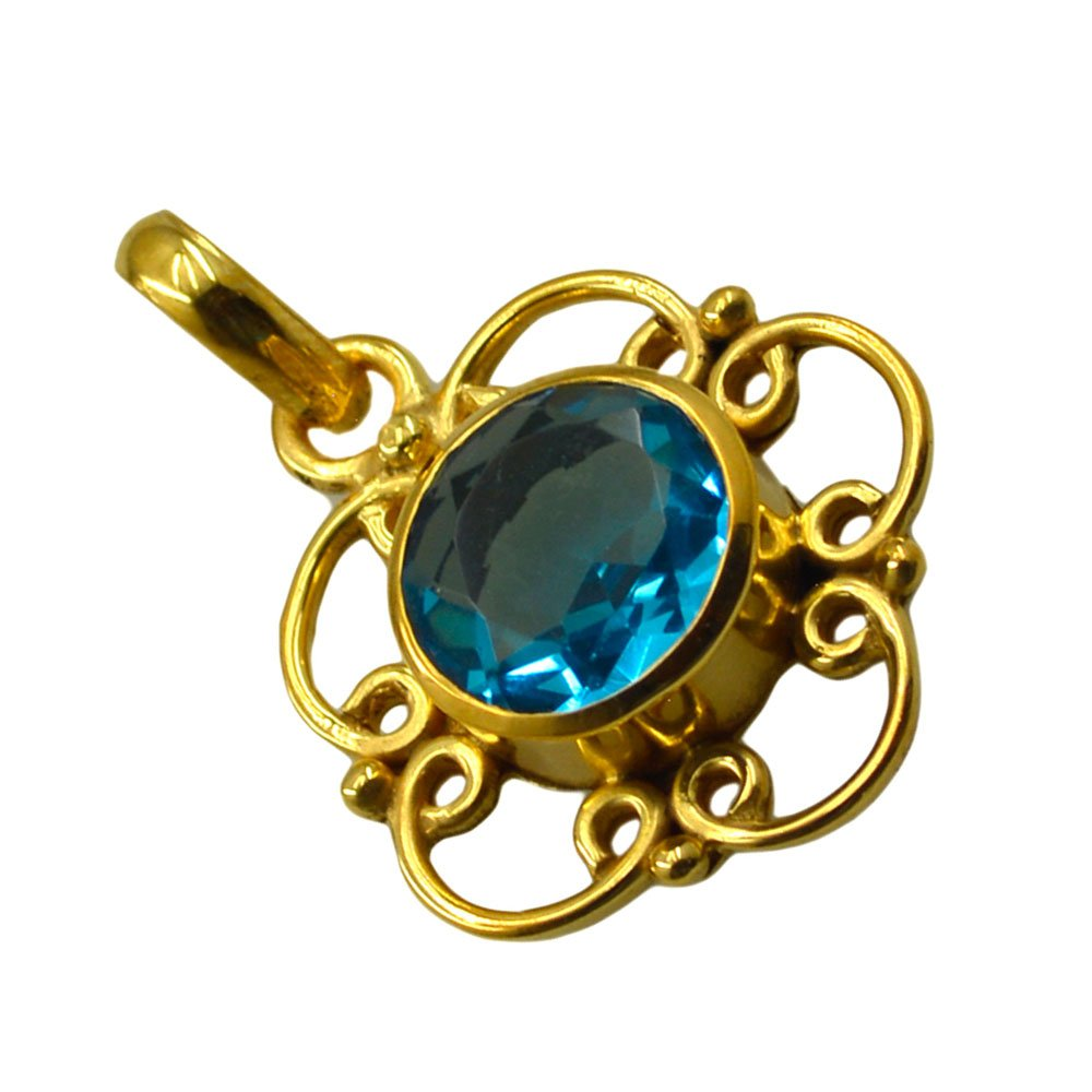 Jewelryonclick Blue Topaz CZ Pendants Gifts for Women Fashion Gold Plated Handmade Gemstone Jewelry Gift