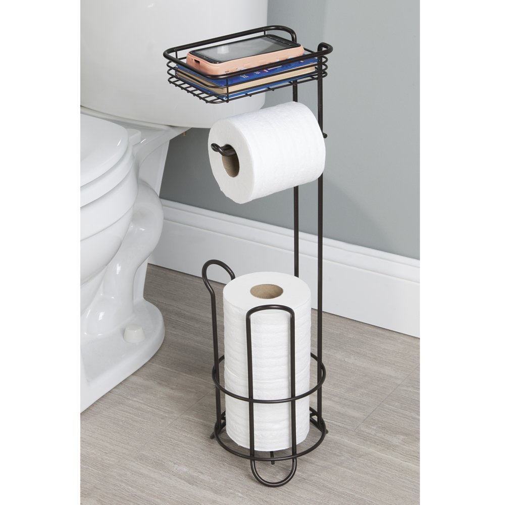 amazon com mdesign free standing toilet paper holder with shelf