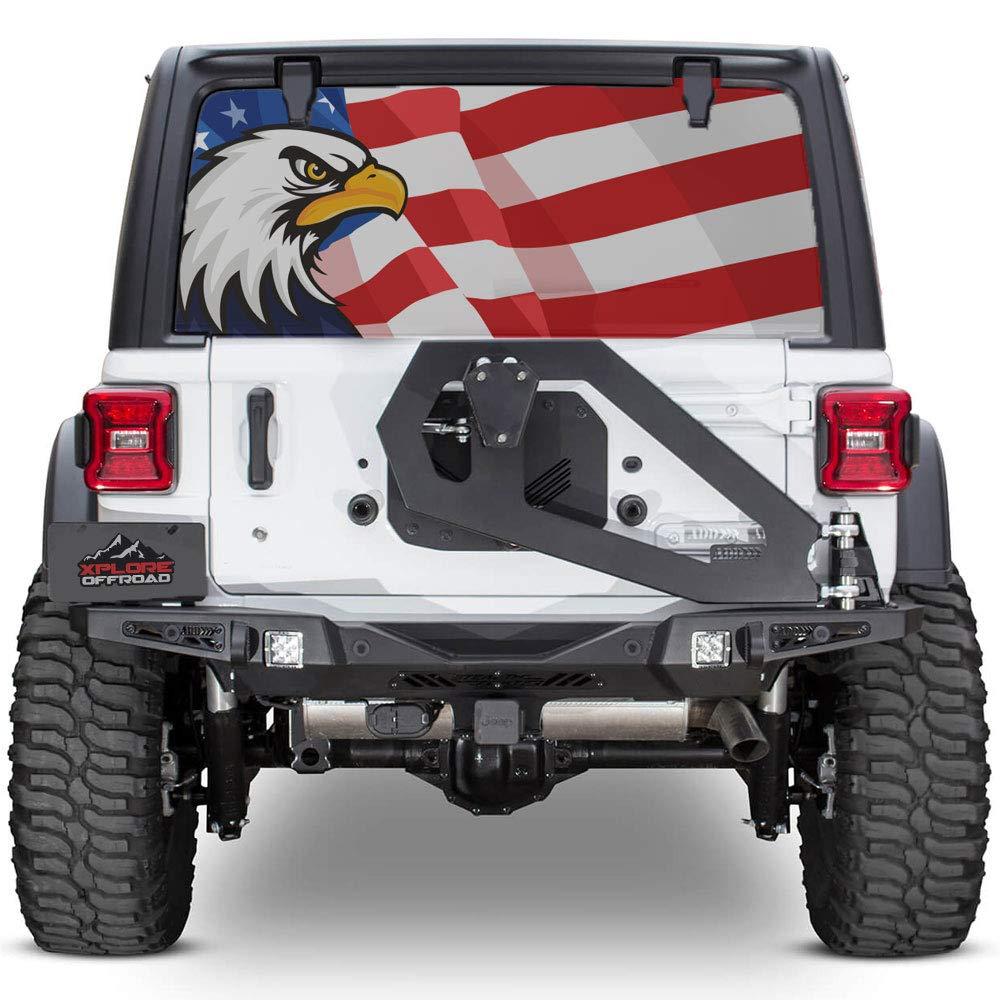 Amazon com xplore offroad jeep wrangler american flag rear window decal american eagle automotive