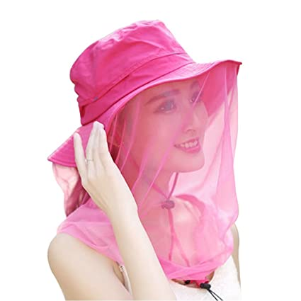 22b8e78a6c6eb Sun Protection Hats with Mosquito Head Net Mesh Face Mask Outdoor Anti-Mosquito  Boonie Hat