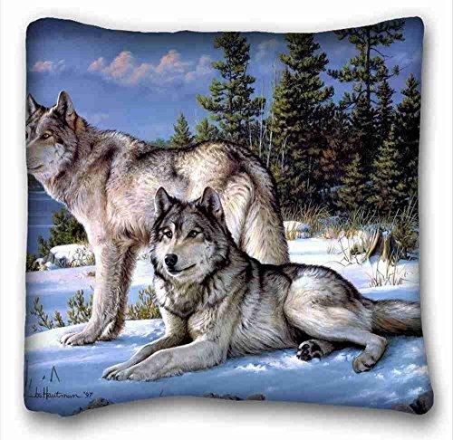Custom Cotton & Polyester Soft ( Animals joseph hautman Art Wolves ) Pillow Covers Bedding Accessories Size 16