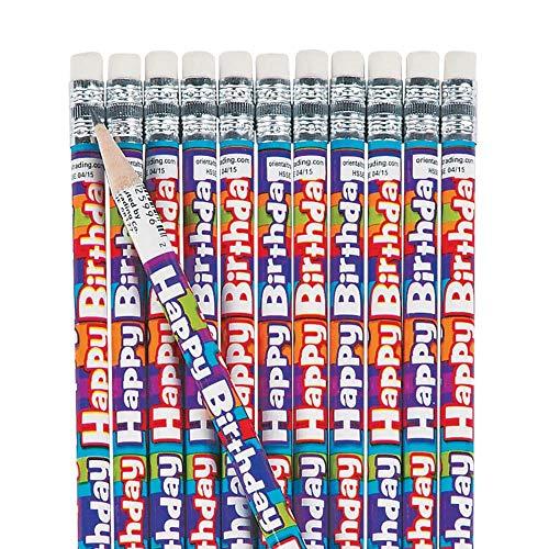 (Fun Express 24 ~ Happy Birthday Stripe Pencils ~ #2 Lead ~ New)
