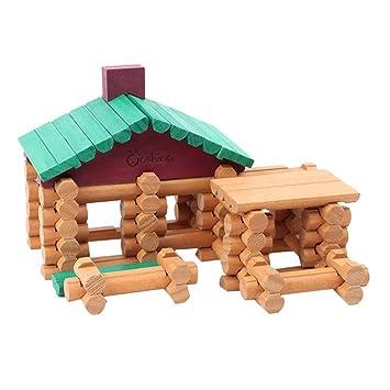 Happy Cherry Niños Niñas Set/Juguetes de 90 Piezas Madera Juegos de Bloques de Construcción Encajar Apilar Casita Forestal: Amazon.es: Juguetes y juegos