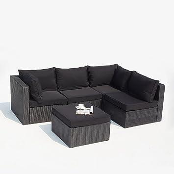 Concept-Usine Milano noir: salon de jardin modulable 5 places en ...