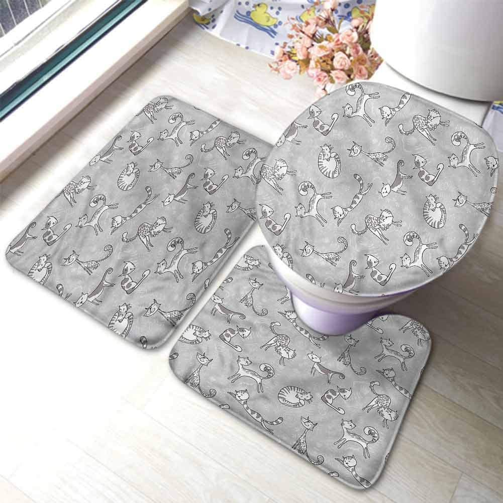 Grey Bathroom Rug Set Extra Soft Luxury and Comfort Cute Cat Kitten Cartoon Non-Slip Bath Mat Rug Set