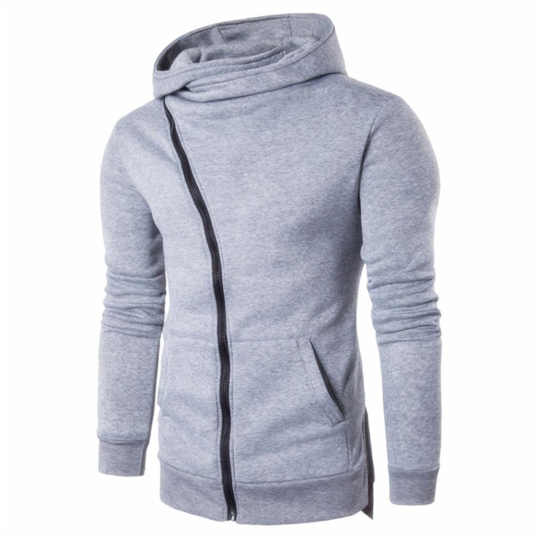 Kstare Men Zipper Hooded Coat Outwear Sweatshirt Pullover Sweater Casual Long Sleeve Shirt T-Shirts Hoodie Tops (M, Grey)