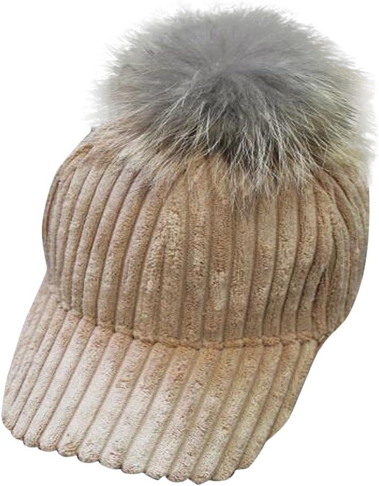 Baseball Cap Men Women Women Men Unisex Baseball Cap Snapback Hats Faux Fur Ball Winter Warm Hat YunZyun Adjustable Baseball Caps for Men Women