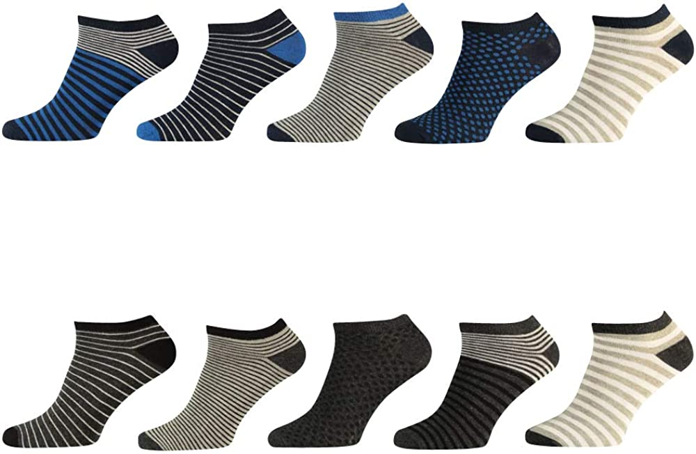 Lieblingsstrumpf24 10er Pack Bunt Gemusterte /& Uni Farben Herren Sneaker Socken 41-46 hoher Baumwollanteil keine dr/ückende Naht