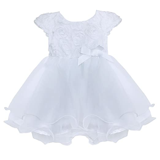Amazon freebily infant baby flower girl dress baptism freebily infant baby flower girl dress baptism christening gown party wedding dress 0 3 mightylinksfo
