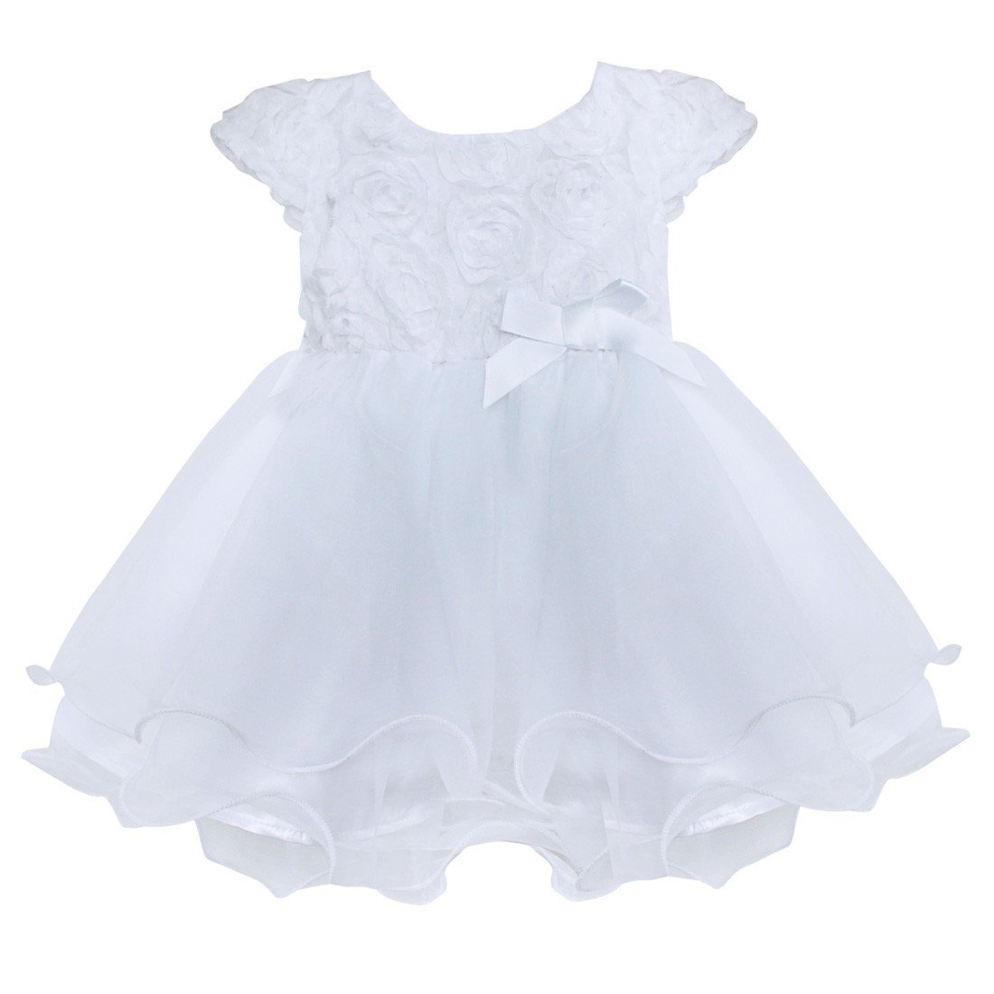 Freebily Infant Baby Flower Girl Dress Baptism Christening Gown Party Wedding Dress White 0-3 Months