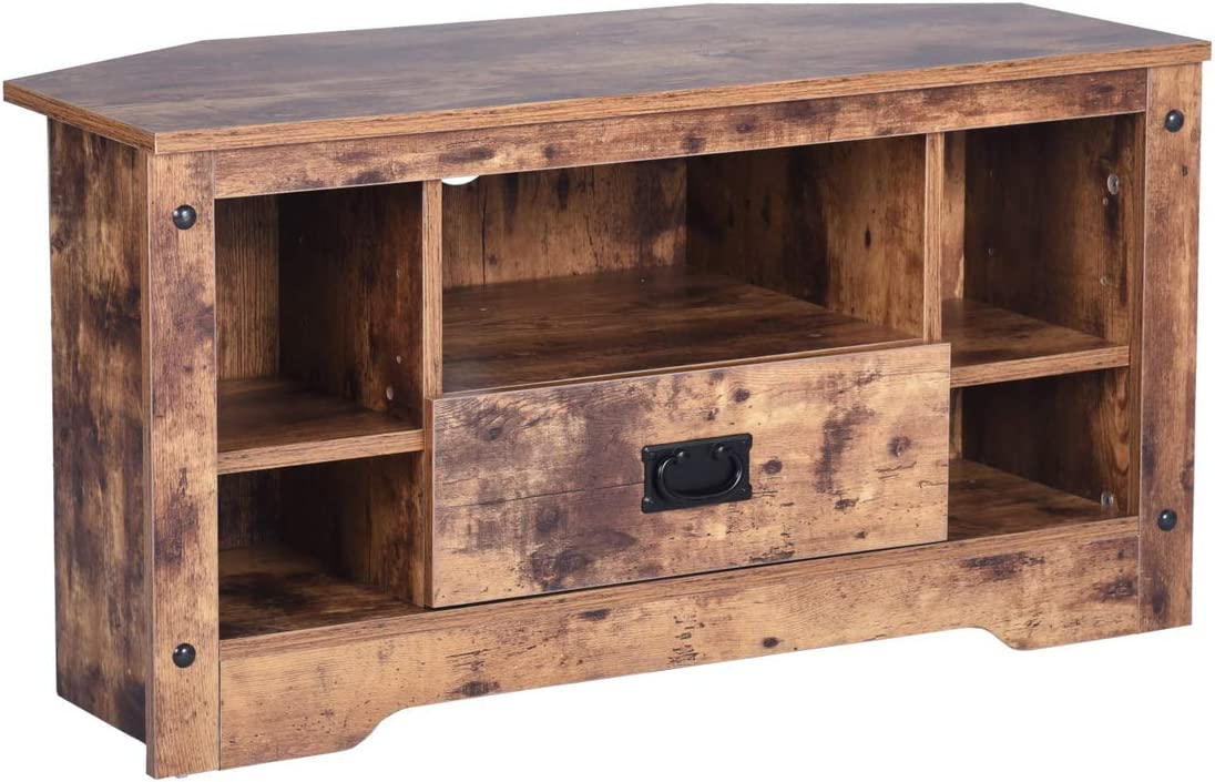 GreenForest TV Stand, 35.4 Vintage TV Console Entertainment Center Cabinet with Drawer for Living Room Bedroom, Walnut