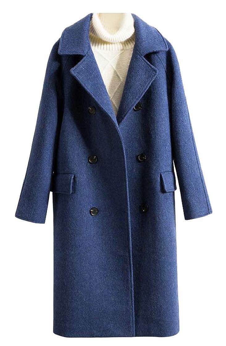 1 Esast Women's Winter Double Breasted Long Trench Coat Outwear