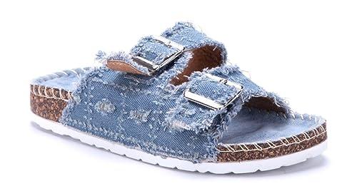 0f150ca8b7f0c7 Schuhtempel24 Damen Schuhe Pantoletten Sandalen Sandaletten blau flach  Schnalle