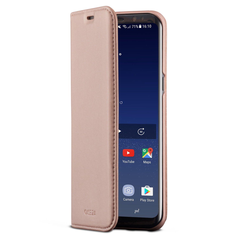CASEZA Samsung Galaxy S8 Plus Funda Rosa Oro Tipo Libro Piel PU Case Cover Carcasa Plegable Cartera Oslo Piel Vegana Premium para Galaxy S8+ (6.2