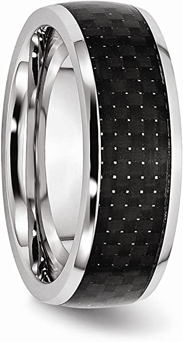 FB Jewels Solid Vitalium Cross Satin Finished Edges 8mm Domed Grooved Band