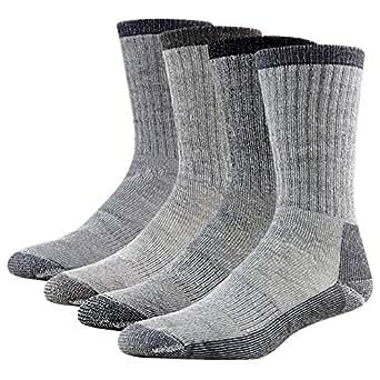 Trekking Socks, RTZAT Merino Wool All Thick Padded Crew High Outdoor Activity Hiking Socks Hunting Camping for Men and Women 1 Pair Black Medium