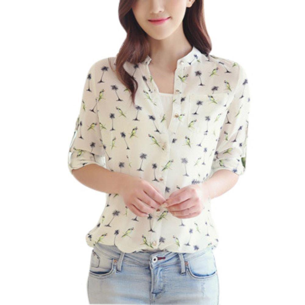Weixinbuy Womens Bird Printed Chiffon Long Sleeve T Shirt Blouse