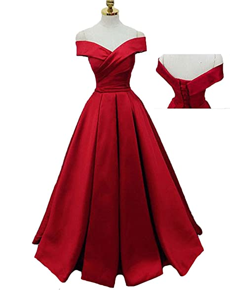 Mr Right Elegant Red Prom Dresses Long Pleat Satin Formal ...