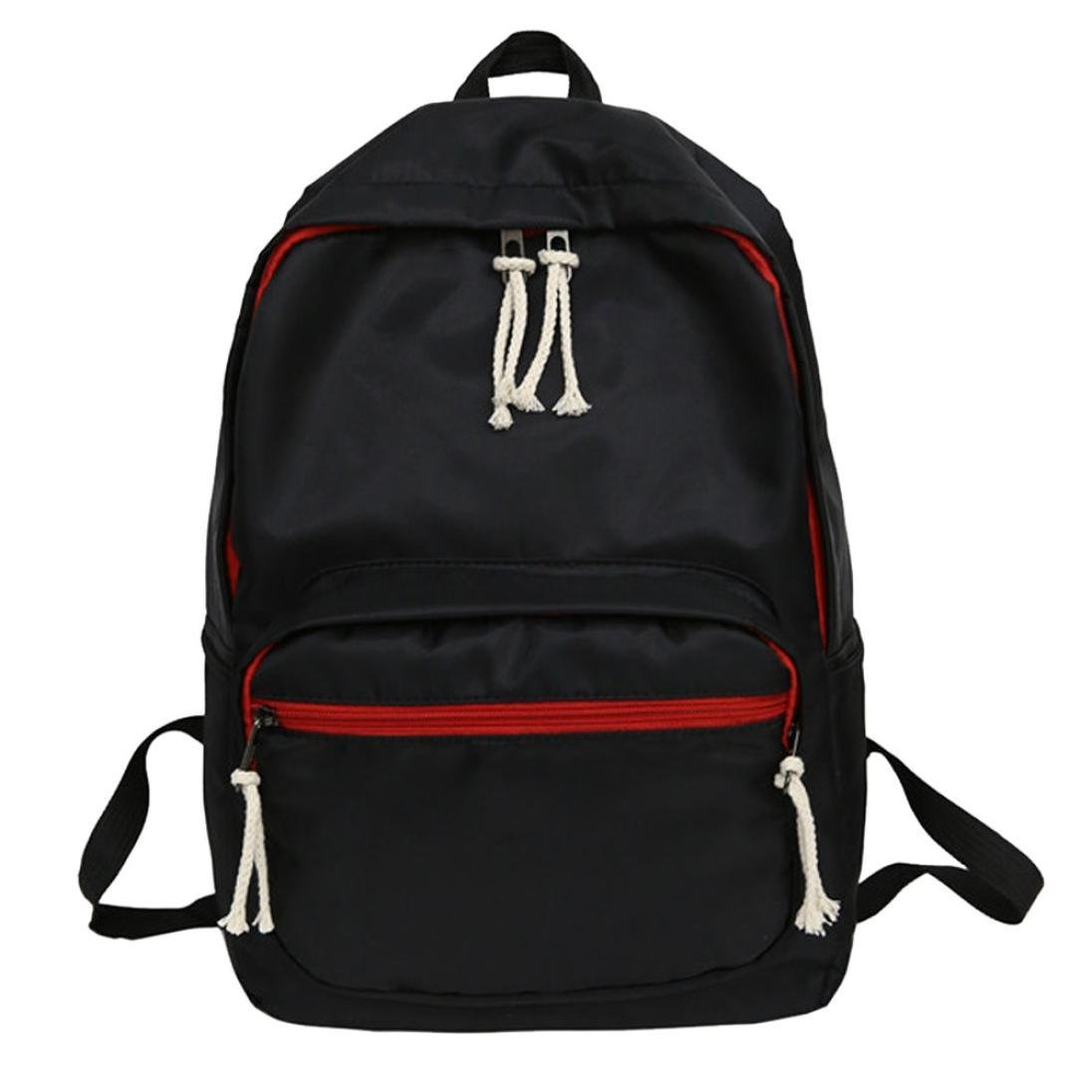 Outsta Pure Color Nylon Backpack,2018New Couple Students School Bag Travel Tote Travel Waterproof Shoulder Bag Casual Multicolor Cute (Black) by Outsta